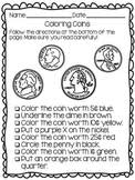 identifying coins coloring worksheet by brittney marie tpt
