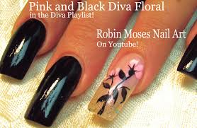 easy long nails tutorial diy black with pink flower nail art