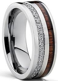 real wedding rings images Titanium men 39 s wedding band ring with real koa wood jpg