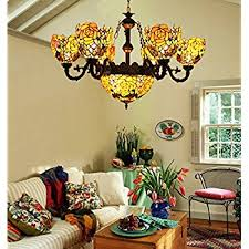 Vintage Flower Chandelier Makernier Vintage Tiffany Style Stained Glass 8 Arms Parrots