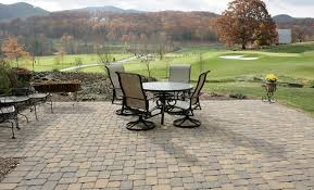 Patio Foundation Beautiful Fall View From This Pavestone Plaza Stone Patio Laying