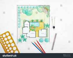 landscape architect design backyard plan villa stock photo