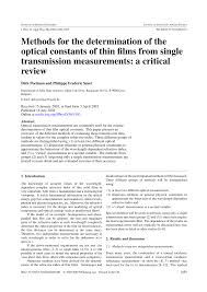 methods for the determination of the optical constants of thin