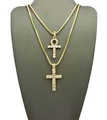 mens hip hop egyptian iced out key of life ankh cross pendant 24