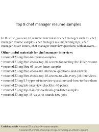 Sample Chef Resume by Resume Cover Letter Chefs