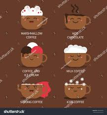 vector cute coffee cups different coffee stock vector 389922058