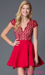 holiday cocktail dress red open back lace bodice holiday dress promgirl