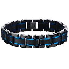 mens black steel bracelet images Black metal mens bracelets tribal hollywood jpg
