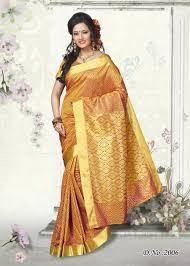 Colour Style by Shop Kanjivaram Style Designer Orange Colour Butter Silk Saree