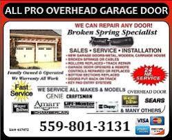 Pro Overhead Door All Pro Overhead Garage Doors In Fresno California