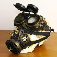gas mask costume retro bronze black plastic metal rivet steunk mask goggles