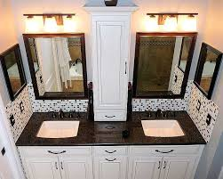 bathroom double sink countertop with wall storage cabinet google