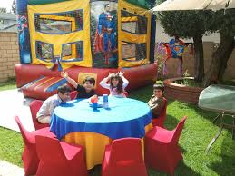 birthday chair cover superman theme birthday party table set up decoration ideas