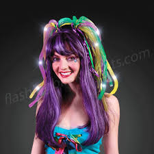 mardi gras headbands led headwear light up hair noodles headband in purple green