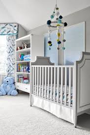 gray french crib with silver nailhead trim transitional nursery