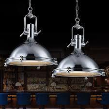 Searchlight Ceiling Lights Searchlight Industrial 1 Light Vintage Chrome Pendant Light Metal