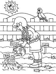 gardening in the morning watering plant coloring pages gardening