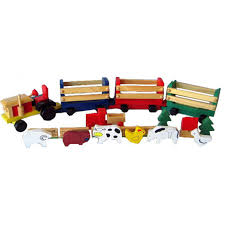 wooden toys wooden toy farm tractor with animals squoodles ltd
