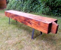 Vintage Redwood Patio Furniture - vintage wood benches with steel bench legs modern legs