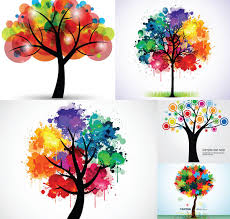 colorful ink creative trees free