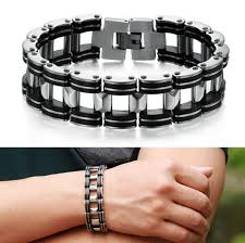 bracelet man silver stainless steel images Hot men silver stainless steel motorcycle biker bracelet free png