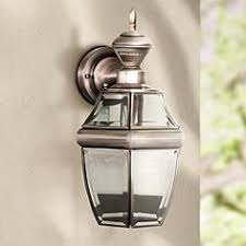 Motion Activated Outdoor Wall Light Pewter Outdoor Lighting Lamps Plus