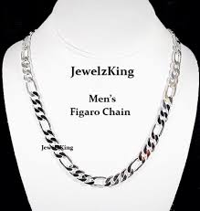 white gold fashion necklace images Mens 8mm 14k white gold finish silver italian figaro chains gif