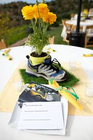 themed centerpieces shoe center with out flowers balloons in banquet colors