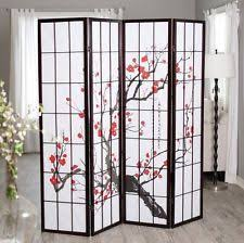 Panel Shoji Screen Room Divider - 4 panel room divider privacy shoji screen foldable black wood