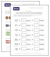 place value worksheets tens and ones kids learning station