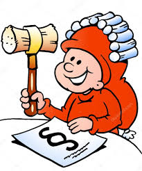 drawn vector illustration of an happy christmas elf studying law