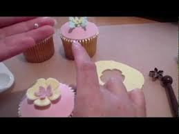 How To Make Plastic Icing Decorations How To Make Cupcake Toppers 4 Fondant Flower Youtube