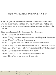 Hvac Technician Resume Examples Sample Hvac Resume Resume For Your Job Application