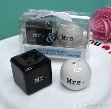 wedding salt and pepper shakers wedding giveaway gift items mr mrs ceramic salt and pepper