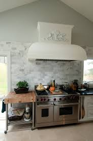 boos block in traditional toronto with marble backsplash next to