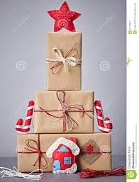 gift boxes handcraft stack christmas decorations stock photo