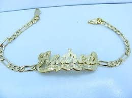 14k Gold Name Plates Personalized 14k Gold Gp Figaro Cuban Flat Link Double 3d Name