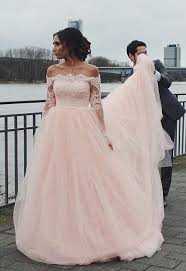 pink dress for wedding the shoulder wedding gown blush pink wedding dress tulle