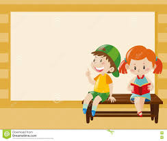border template with kids on the bench stock illustration image
