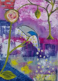 original linked souls bird and tree painting mixed media acrylic