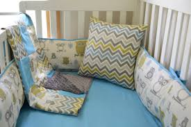 Boy Owl Crib Bedding Sets Owls And Chevron Boys 5 Crib Bedding Set By Idbaby On Etsy