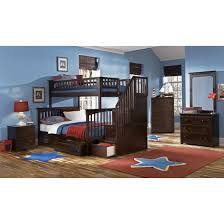 Antique Finish Bedroom Furniture by Furniture Columbia Staircase Bunk Bed Twin Over Full With 2