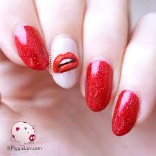 piggieluv lips nail art for valentine u0027s day