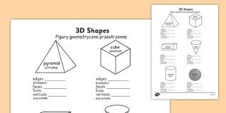 3d shape properties worksheets polish translation polish 3d