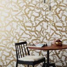Wallpapers Home Decor Aurora White And Gold Wallpaper Cb2