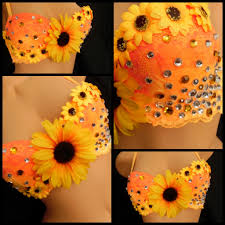 orange sunflower rave bra edc halloween costume rave rave