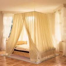 Four Poster Bed Curtains Drapes Transparent Camopy Curtain With Creamy Beige Color Also Wooden