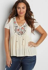 peasant blouse plus size plus size peasant top with floral embroidery and lace up neckline