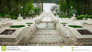 a perspective view on beautiful stairs of a city park in chisinau