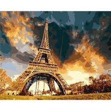 Eiffel Tower Garden Decor 40x50 Eiffel Tower Paris Home Decor Wall Oil Painting Coloring By